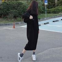 新年特惠大码女装200斤秋冬显瘦减龄长款连衣裙胖妹妹加厚针织打底毛衣裙 黑色