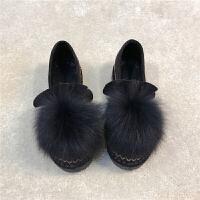 毛毛鞋女秋冬季韩版加绒懒人单鞋女鞋棉鞋2018新款平底豆豆鞋