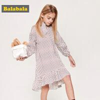 巴拉巴拉儿童裙子女童连衣裙春季新款中大童童装法式波点裙女