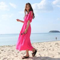新款素色波西米亚风格圆领雪纺沙滩度假女长裙