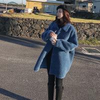 羊羔毛皮毛一体外套女2019新款冬装韩版加厚中长款皮草羊剪绒大衣 蓝色