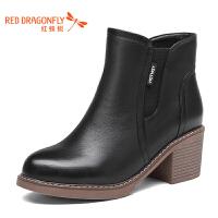 红蜻蜓女鞋秋冬皮鞋鞋子女女靴子加绒短靴WNC6394