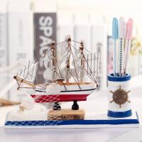 教师节开学帆船摆件 居家木质装饰摆件 简约可爱办公用品学生笔筒
