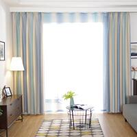 窗帘成品北欧简约现代遮光卧室落地窗条纹地中海防风保暖窗帘布k