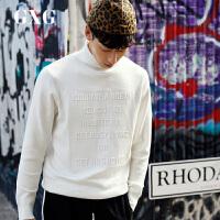 【GXG过年不打烊】GXG男装 冬季男士时尚都市潮流青年韩版流行双色高领套头针织衫男