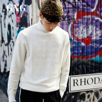 【新款】GXG男装 冬季男士时尚都市潮流青年韩版流行双色高领套头针织衫男