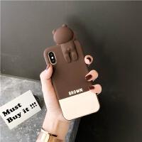 可爱趴趴卡通iPhone7/8plus手机壳苹果硅胶软套6s潮女款XR/XS max 苹果6/6s 白棕拼接趴趴布朗熊