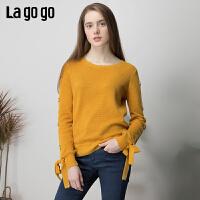 【清仓5折价179】lagogo2019春新款针织衫甜美毛衣套头圆领修身黄色针织打底衫女
