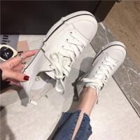 真皮小白鞋女2019春季新款韩版百搭厚底学生帆布鞋女系带牛皮板鞋