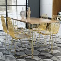北欧实木餐桌椅组合简约现代家用小户型长方形铁艺咖啡厅餐厅饭桌l