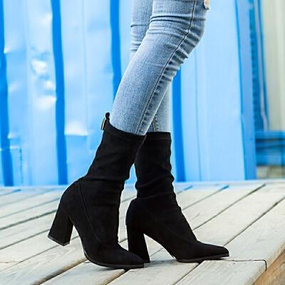 【18秋冬新款】欧美范尖头中筒后拉链简约粗跟气质马丁靴