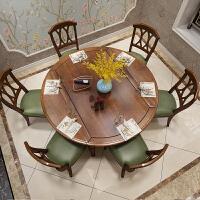 北欧创意折叠桌家用小户型可伸缩饭桌 美式乡村实木餐桌椅组合欧式家具圆形饭桌