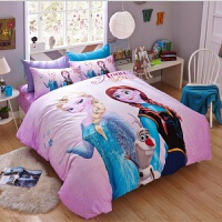 全棉卡通四件套 冰雪奇��凵�被套床��和�三件套3D�棉床上用品