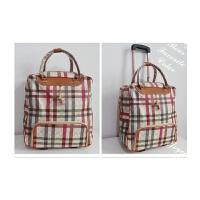 韩版手提拉杆包手提女 复古旅行包 防水容量皮行李包出 横纹
