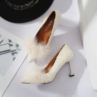 2018冬季新品韩版公主鞋尖头细跟高跟鞋气质布面毛毛浅口单鞋女