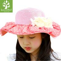 韩国儿童帽子女春夏季可爱时尚公主帽亲子帽女童草帽沙滩遮阳帽潮