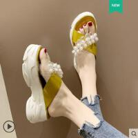 厚底增高跟透明松糕鞋珍珠拖鞋女外穿时尚百搭网红凉拖鞋