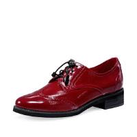 【 限时3折】哈森 春新款系带圆头单鞋 漆皮深口休闲英伦粗跟乐福鞋HL88808
