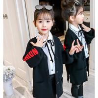 儿童针织衫 女童针织毛衣2020春秋装新款韩版五角星绣花开衫女童中大童中长款字母外套