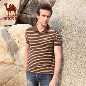 骆驼CAMEL男装 新款T恤 男士商务休闲条纹翻领短袖棉T恤