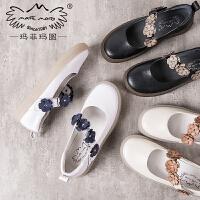 玛菲玛图小白鞋女小皮鞋2019新款春季花朵一字扣单鞋女平底玛丽珍女鞋3783-1