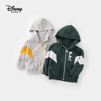 迪士尼童装儿童时尚撞色上衣宝宝拉链衫男童梭织运动连帽外套潮