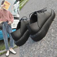 女士大头娃娃鞋百搭厚底单鞋 新款女英伦风皮鞋韩版黑色软妹系带小皮鞋