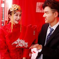婚鞋女冬季2018新款结婚靴子高跟鞋粗跟新娘鞋中式秀禾鞋短靴 红色 跟高7CM 侧水晶刺绣款