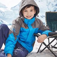 童装儿童三合一冲锋衣抓绒加厚两件套春秋装男童户外运动外套防水