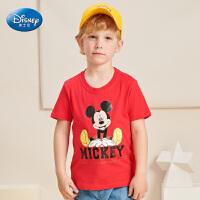 【99元3件】迪士尼童装米奇20年夏季新款男童短袖纯棉T恤中大童2-9岁时尚休闲
