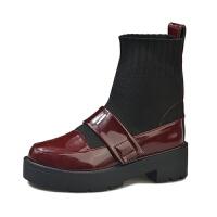 短靴女秋冬2019新款马丁靴 英伦风弹力瘦瘦袜子靴高帮单鞋粗跟靴