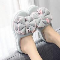 厚底拖鞋女冬季新款坡跟室内包跟家用防水增高冬天毛绒棉拖鞋