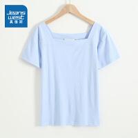 [到手价:39元]真维斯女装 舒适易搭平纹方领净色短袖T恤