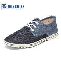 红蜻蜓旗下品牌HONCHIEF 春季新款网面透气男士休闲鞋简约舒适男单鞋