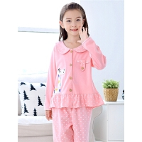 儿童睡衣长袖春秋季套装女童宝宝小孩秋款家居服全棉大童