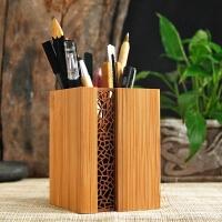 笔筒创意时尚可爱桌面摆件个性文具办公定制复古镂空竹简约收纳盒