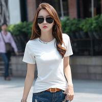 夏装新款女装女士半袖妈妈t恤衫修身棉�B恤女短袖纯色上衣