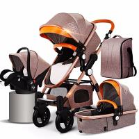 高景观婴儿推车儿童双向婴儿车推车可坐可躺折叠四季通用 卡其色版 四合一