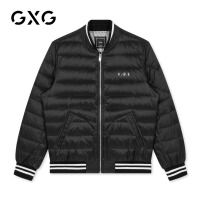 GXG男�b 冬季男士�r尚港�L黑色棒球�I加厚�p薄短款羽�q服男士潮