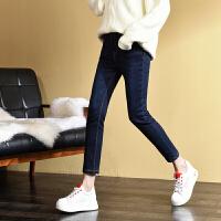 新年特惠冬季高腰外穿九分牛仔裤加绒加厚女直筒2019新款带绒宽松大码弹力