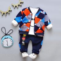 加绒加厚后拉链卫衣宝宝秋冬装加绒卫衣套装0一1-3岁男童冬婴儿