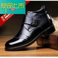 新品上市冬季男鞋加绒加厚高帮棉鞋中老年羊毛绒保暖鞋真皮商务休闲棉皮鞋