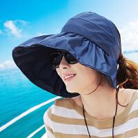 帽子女夏遮阳帽夏天女士防紫外线沙滩太阳帽防晒可折叠凉帽