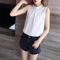 无袖雪纺衫女短袖很仙的上衣夏季女装2019新款显瘦百搭立领白衬衫 白色