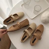 基础款方头平底鞋浅口单鞋皮带搭扣平跟软底舒适奶奶鞋