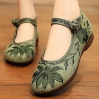 老北京布鞋民族风绣花鞋春秋季女士单鞋软底妈妈鞋子