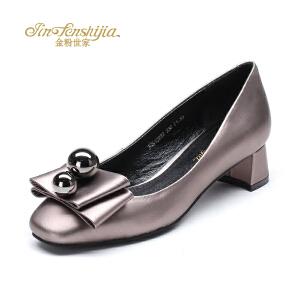 红蜻蜓旗下品牌金粉世家女鞋秋冬休闲鞋鞋子女单鞋高跟鞋JGB1028