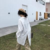 新年特惠宽松加大不规则白色衬衫女秋季2019新款大码休闲衬衣 白色