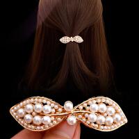 ins珍珠发夹网红弹簧夹一字夹发卡女韩国卡子顶夹子刘海头饰