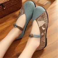 布鞋女老北京夏绣花鞋平底千层底布鞋平跟民族风女鞋